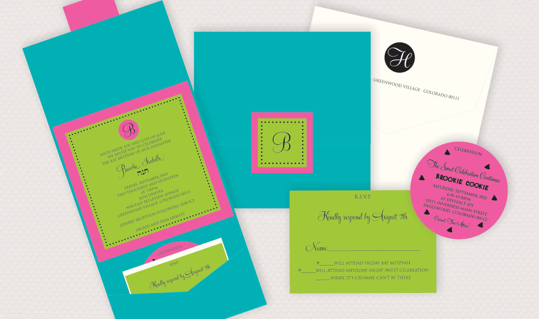 Circle Monogram Pocket Bat Mitzvah Set