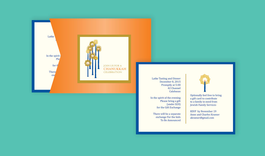 Chanukkah Candles Holiday Invitation