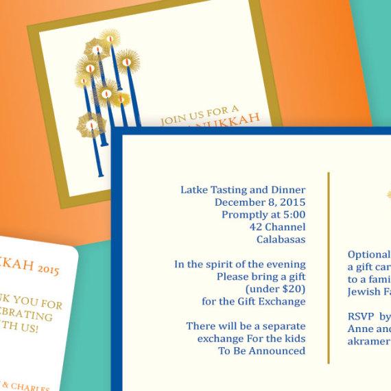 Chanukkah Candles Holiday Invitation Detail
