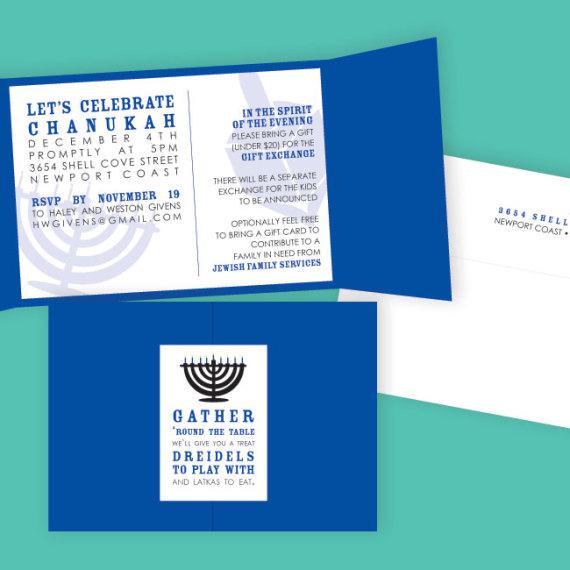 Chanukah Menorah Invitation