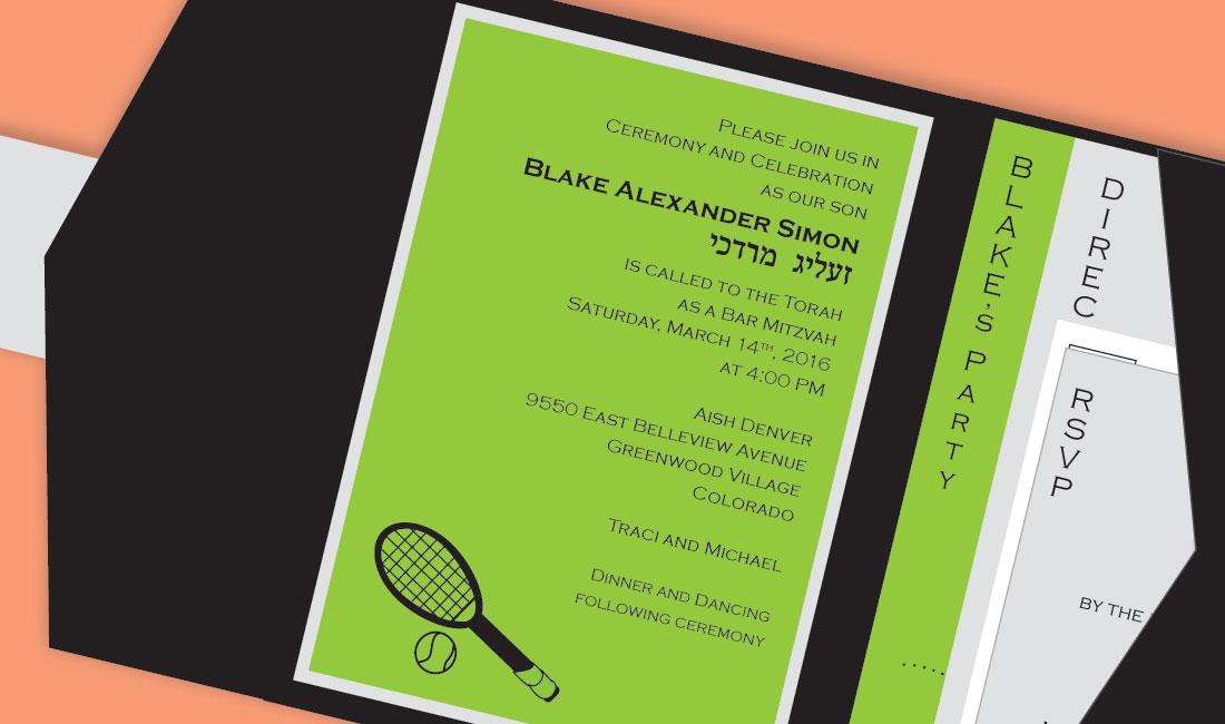 Tennis Pocket Bar Mitzvah Detail