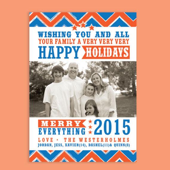Holiday Chevron Photo Card
