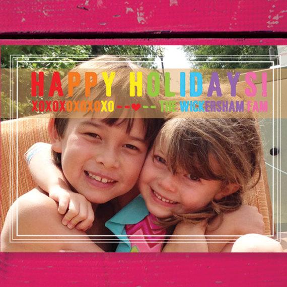 Holiday Photo Card with Rainbow Wording