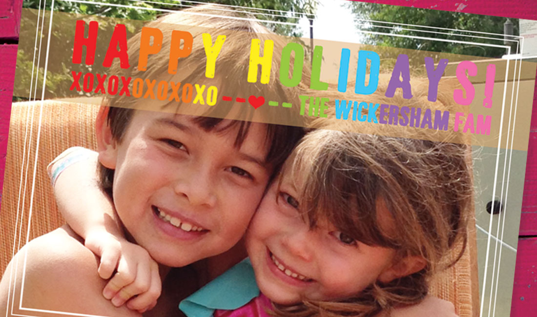 Holiday Photo Card with Rainbow Wording Detail