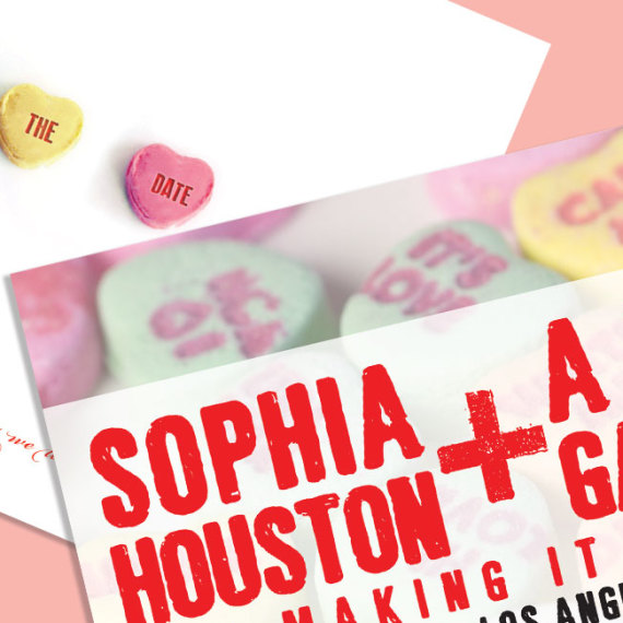 Candy Hearts Save the Date Detail