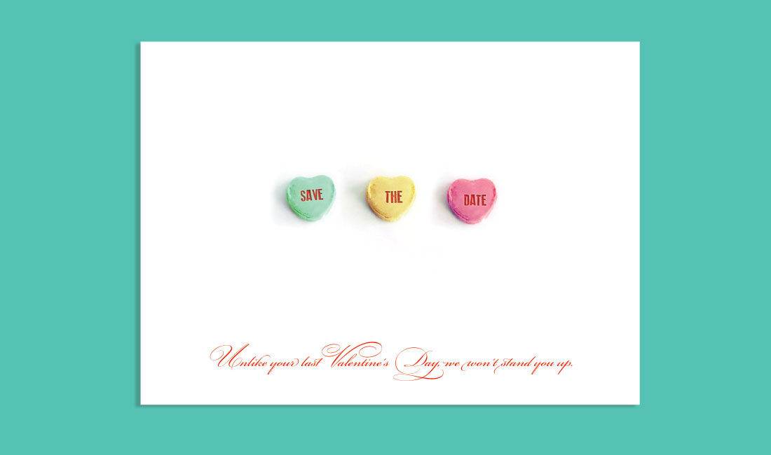 Candy Hearts Save the Date Sweet Tart