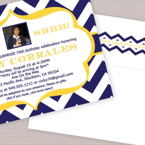 Chevron Birthday Photo Invitation Detail