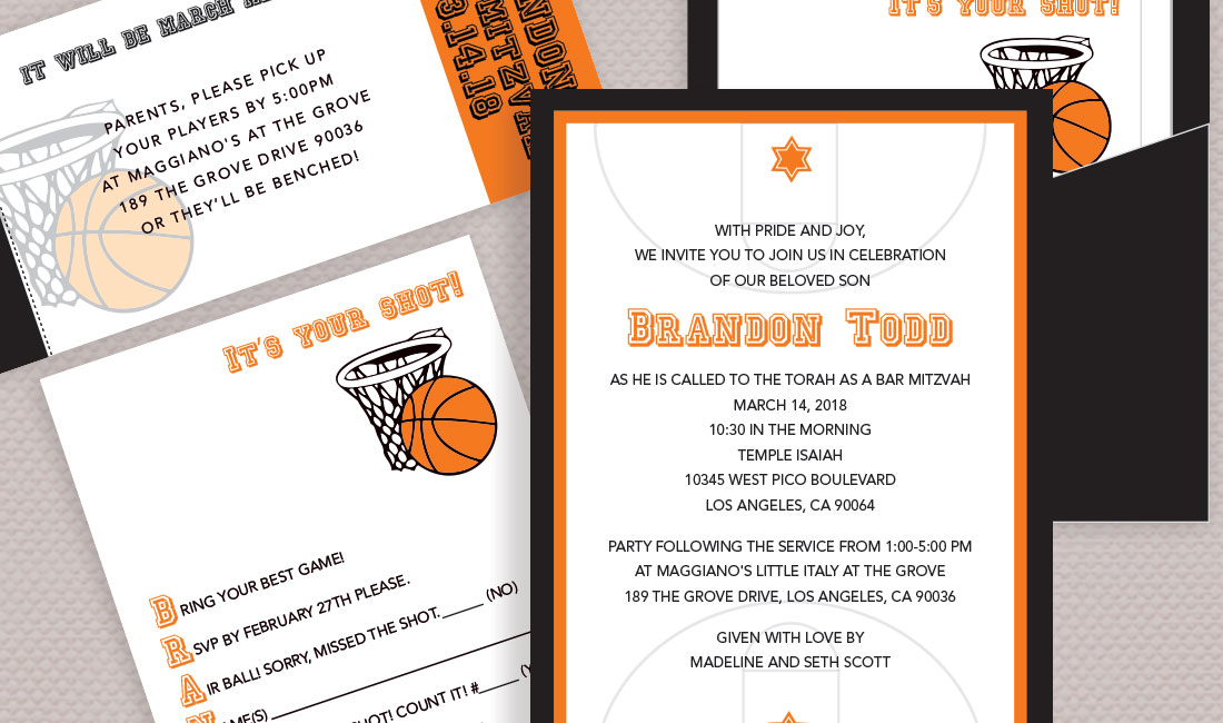 Bumpercards Basketball Theme Bar Mitzvah Pocket Card