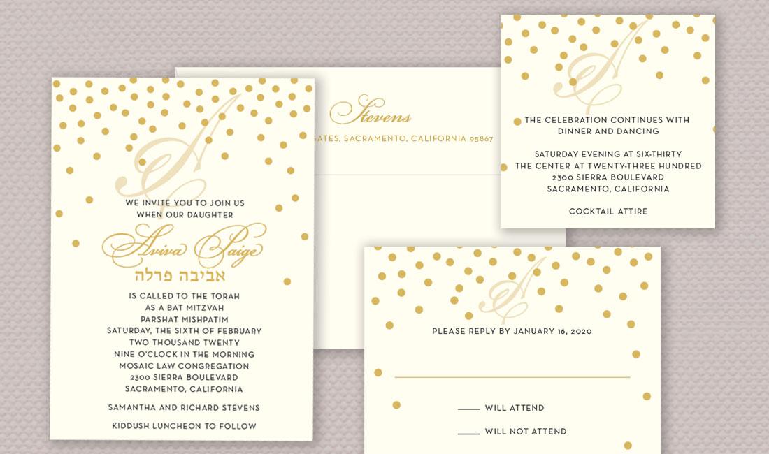 Gold Dots Invitation