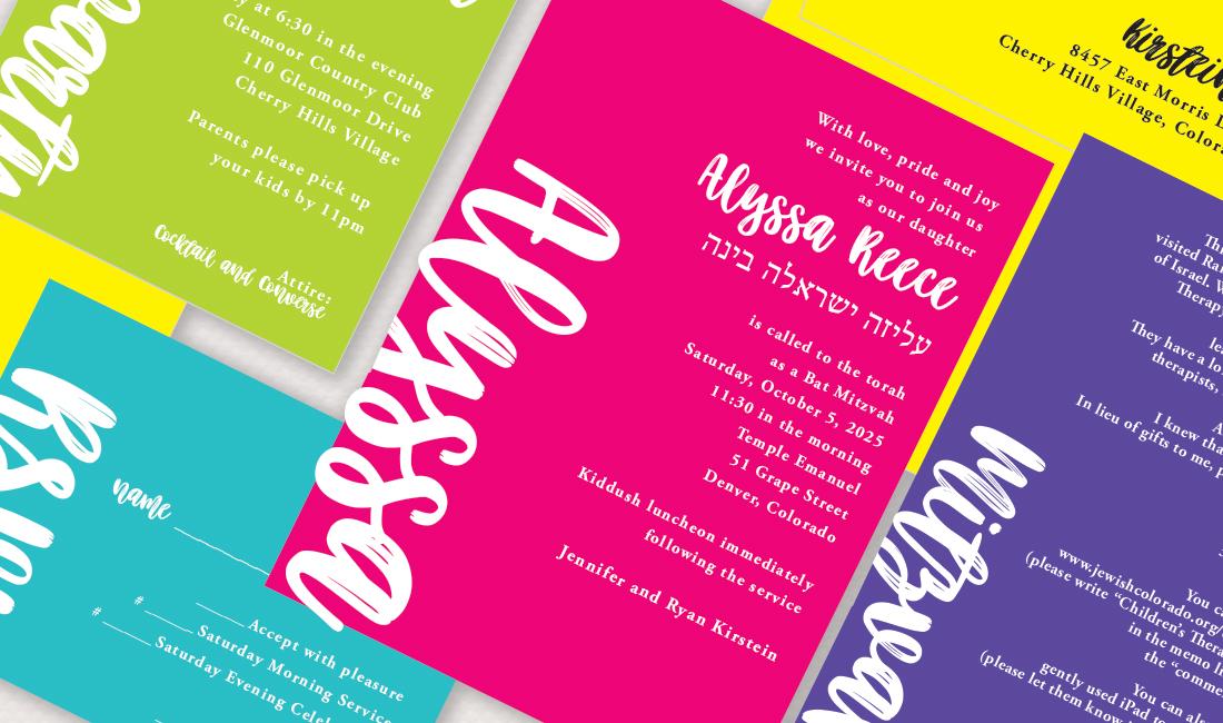 Color Paper + White Ink Invitation Detail