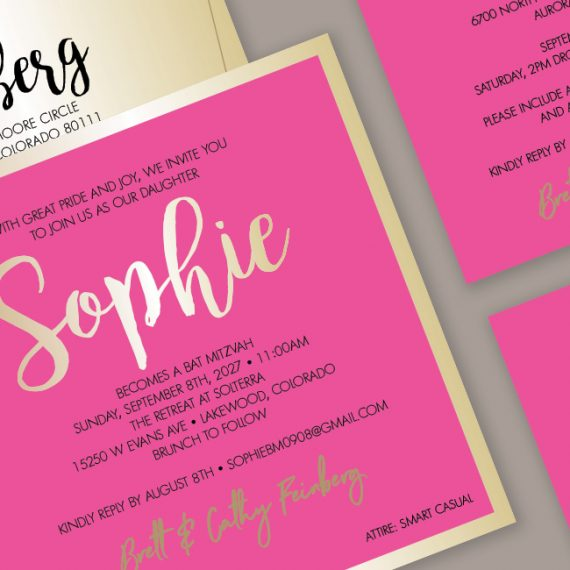 Hot Pink + Gold Invitation Detail