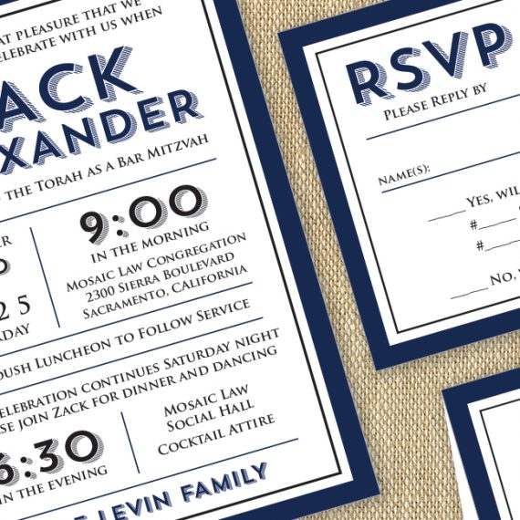 Navy + Black Modern Invite Detail